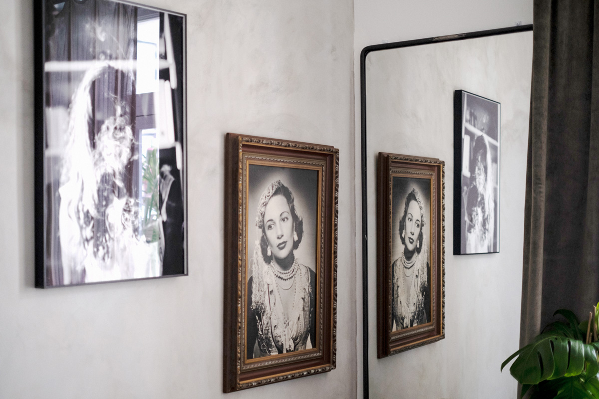 Old photographs on wall